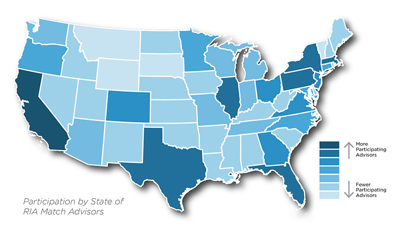 Breakout of  location of RIA Match subscribers by state