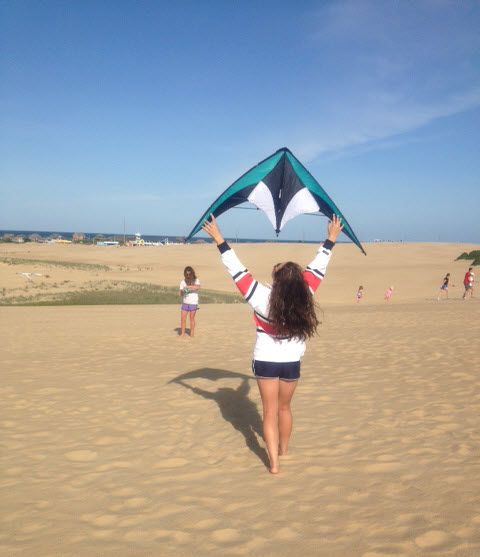 kite flying on Jockey's Ridge, The Outer Banks of North Carolina